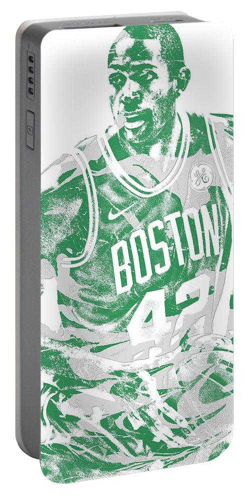 Al Horford Portable Battery Charger featuring the mixed media Al Horford Boston Celtics Pixel Art 6 by Joe Hamilton
