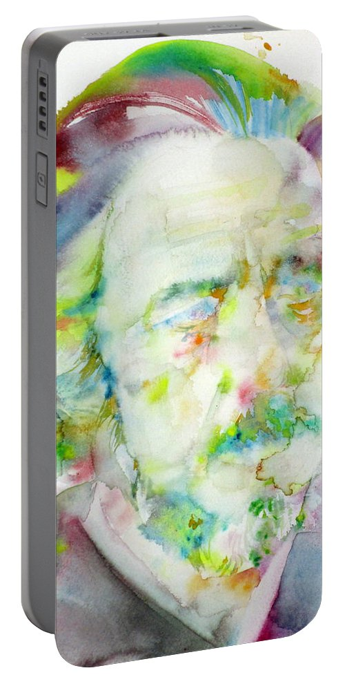 Alan Watts Portable Battery Charger featuring the painting Alan Watts - Watercolor Portrait.3 by Fabrizio Cassetta