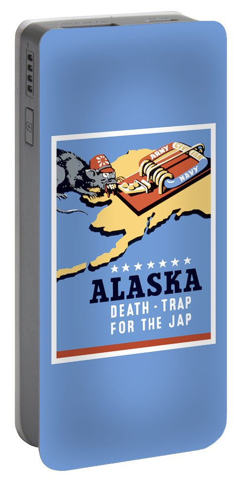 Alaska Portable Battery Charger featuring the painting Alaska Death Trap by War Is Hell Store