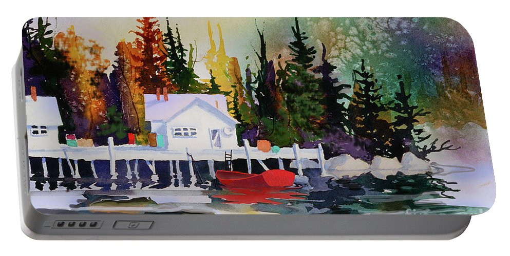 Alaska Dock Portable Battery Charger featuring the painting Alaska Dock by Teresa Ascone