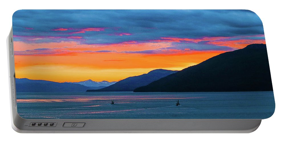 Sunset Portable Battery Charger featuring the photograph Alaska Fishermans Sunset by Jason Brooks
