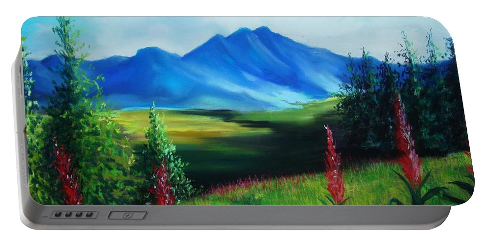 Alaska Portable Battery Charger featuring the pastel Alaska by Melinda Etzold
