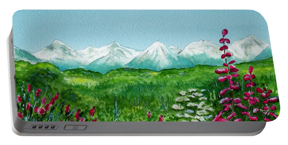 Landscape Portable Battery Charger featuring the painting Alaska Splendor by Brenda Owen