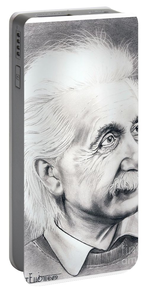 Portrait Portable Battery Charger featuring the drawing Albert Einstein by Murphy Elliott