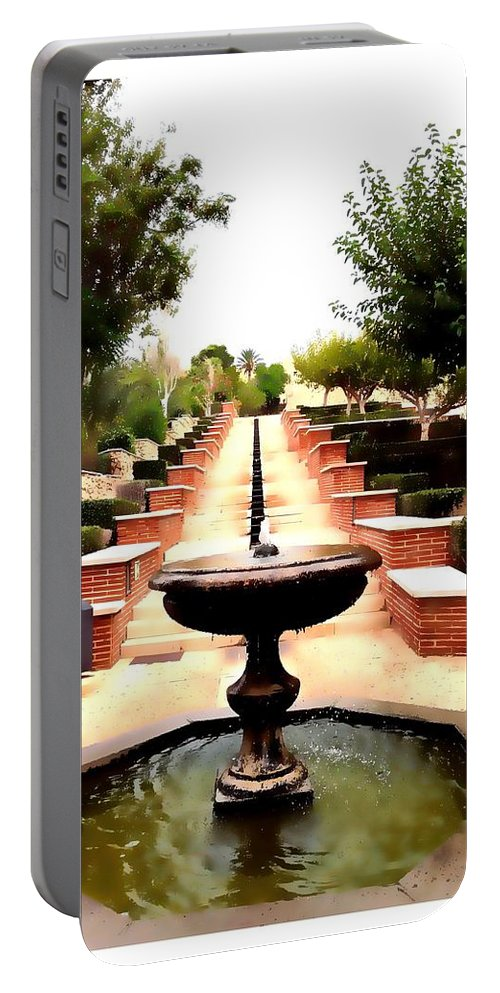 Foutain Portable Battery Charger featuring the digital art Alcazaba Fountain by Alicia Guerrero