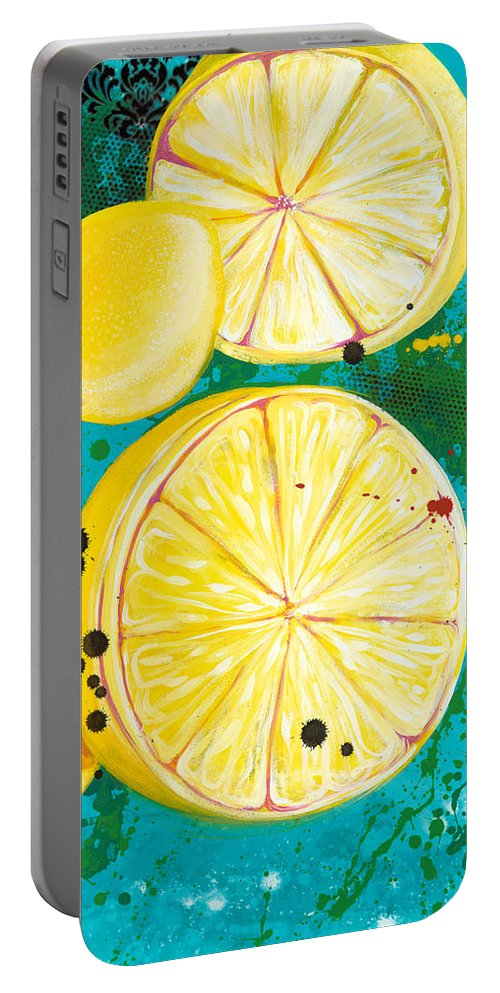 Lemons Portable Battery Charger featuring the painting Alchemy I by Aramis Hamer