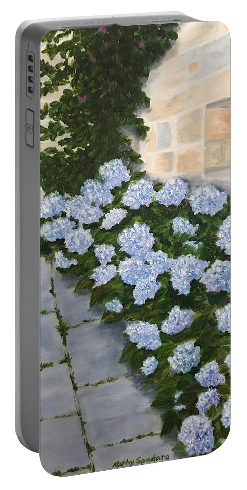 Blue Portable Battery Charger featuring the painting Courtyard At Condes De Albarie by Kathy Spadaro