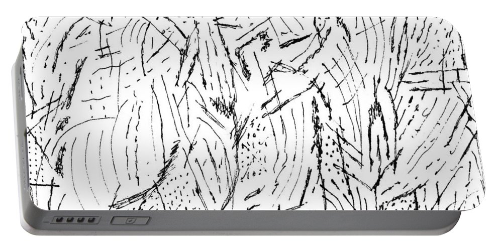 Mazes Portable Battery Charger featuring the drawing Alecs by Steven Natanson