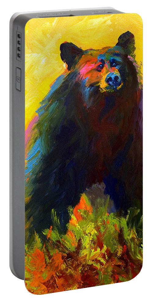 Western Portable Battery Charger featuring the painting Alert - Black Bear by Marion Rose
