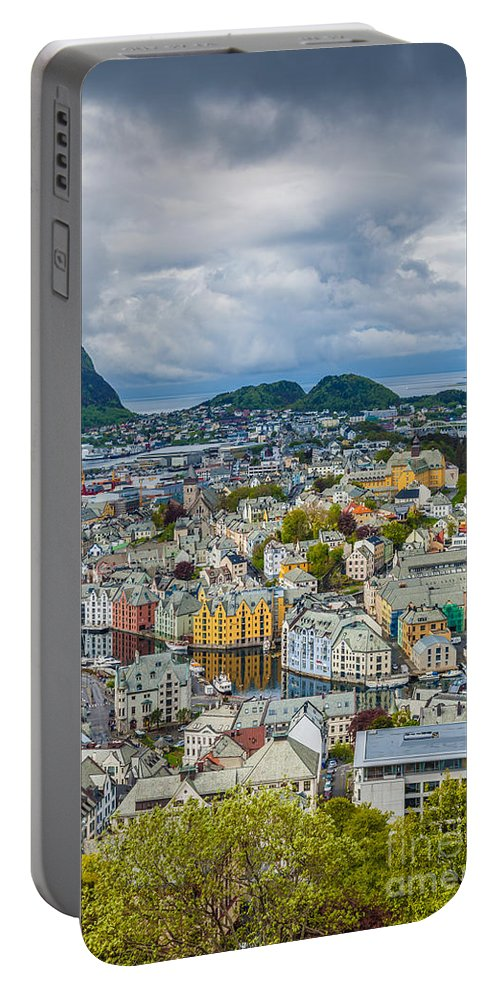 Sun Portable Battery Charger featuring the photograph Alesund Norway Cityscape by Shaun Wilkinson