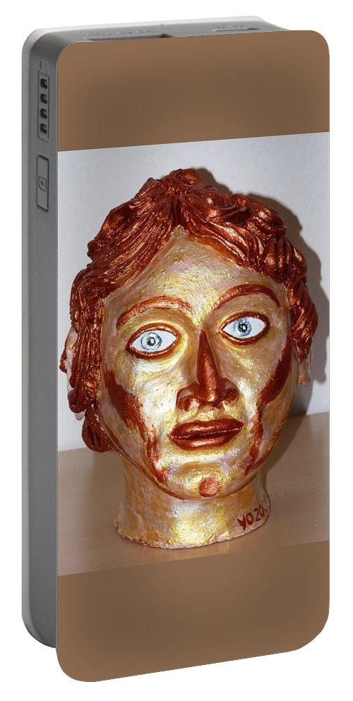 Alexander Portable Battery Charger featuring the sculpture Alexander The Great by Valerie Ornstein