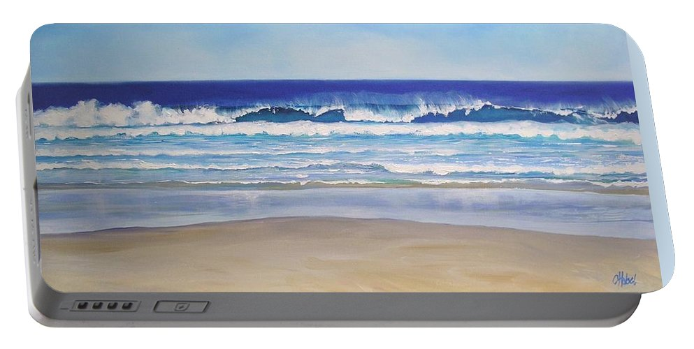 Seascape Portable Battery Charger featuring the painting Alexandra Bay Noosa Heads Queensland Australia by Chris Hobel