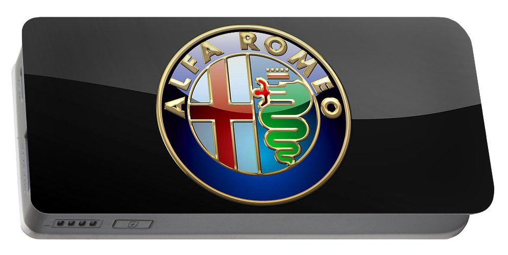 Wheels Of Fortune� Collection By Serge Averbukh Portable Battery Charger featuring the photograph Alfa Romeo - 3 D Badge on Black by Serge Averbukh