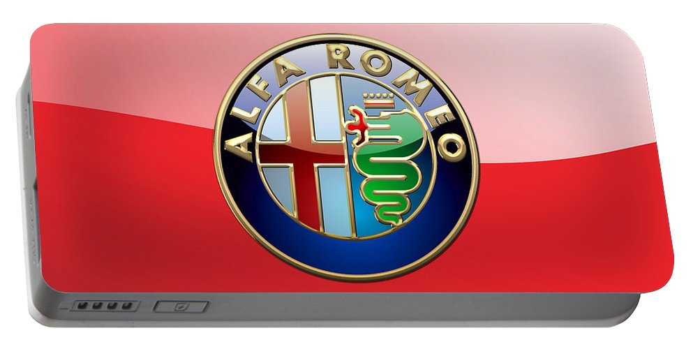 Wheels Of Fortune By Serge Averbukh Portable Battery Charger featuring the photograph Alfa Romeo - 3d Badge on Red by Serge Averbukh