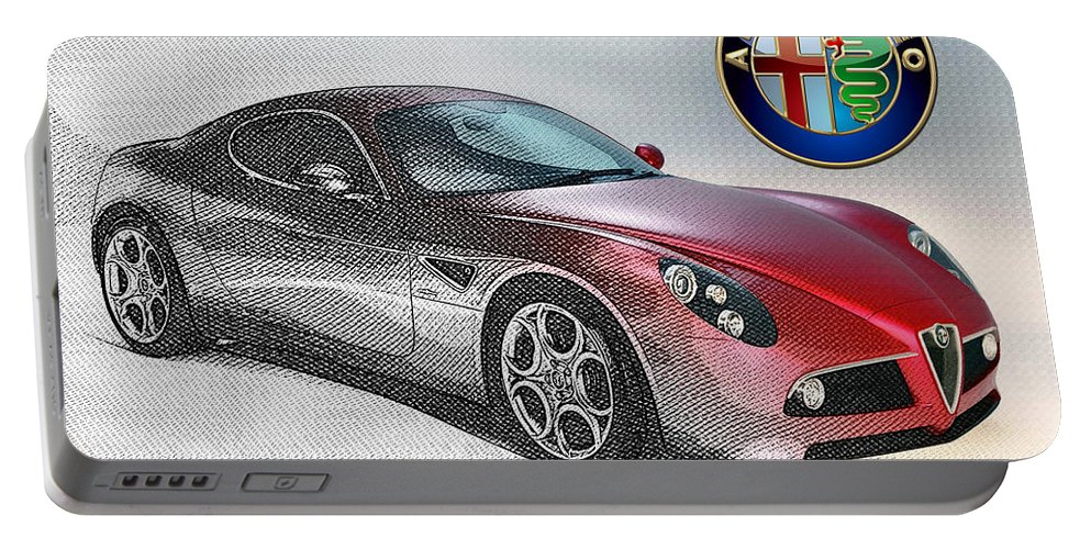 Wheels Of Fortune By Serge Averbukh Portable Battery Charger featuring the photograph Alfa Romeo 8C Competizione by Serge Averbukh