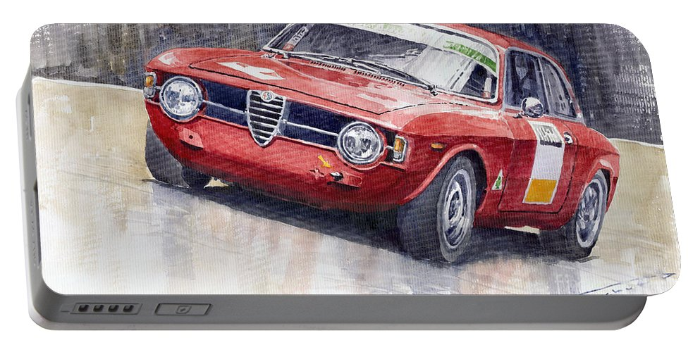 Watercolor Portable Battery Charger featuring the painting Alfa Romeo Giulie Sprint Gt 1966 by Yuriy Shevchuk