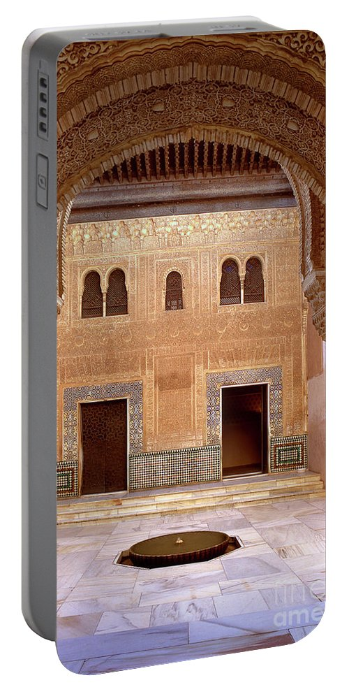 Portable Battery Charger featuring the photograph Alhambra Palace Patio Del Cuarto Dorado by Guido Montanes Castillo