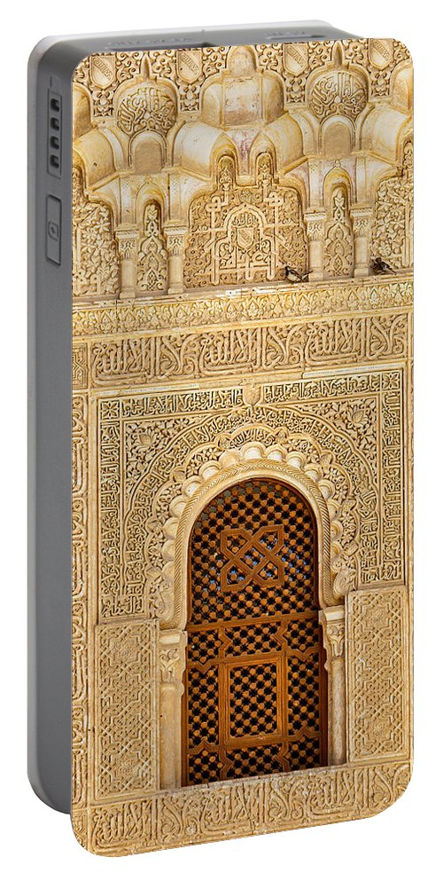 Alhambra Portable Battery Charger featuring the photograph Alhambra - The Window by Juan Carlos Ballesteros