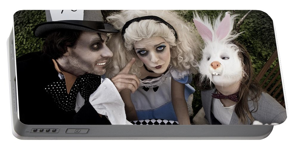 Alice In Wonderland Portable Battery Charger featuring the photograph Alice And Friends 2 by Kelly Jade King