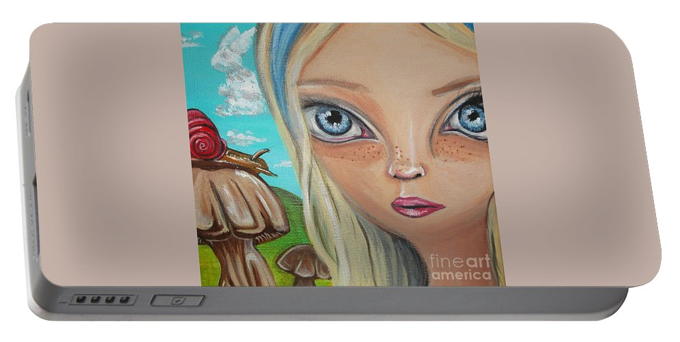 Alice In Wonderland Portable Battery Charger featuring the painting Alice Finds A Snail by Jaz Higgins