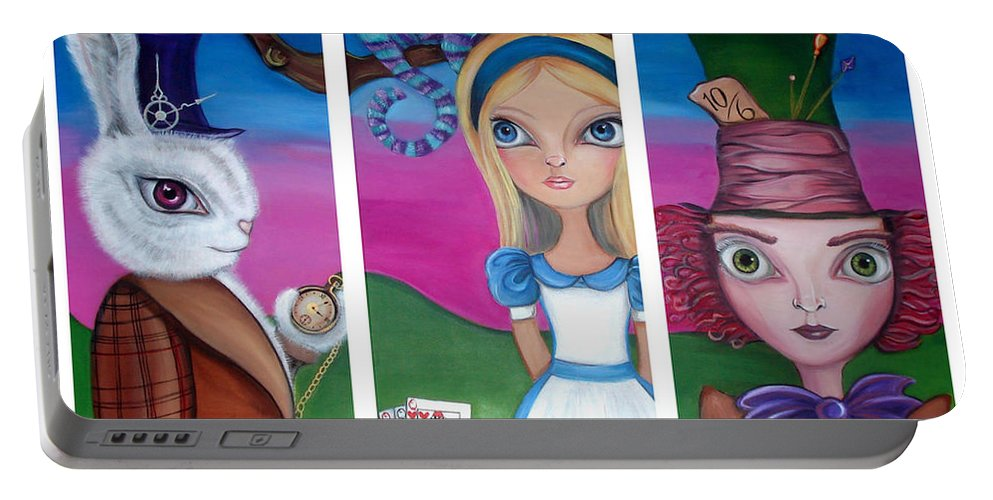 Alice In Wonderland Portable Battery Charger featuring the painting Alice In Wonderland Inspired Triptych by Jaz Higgins