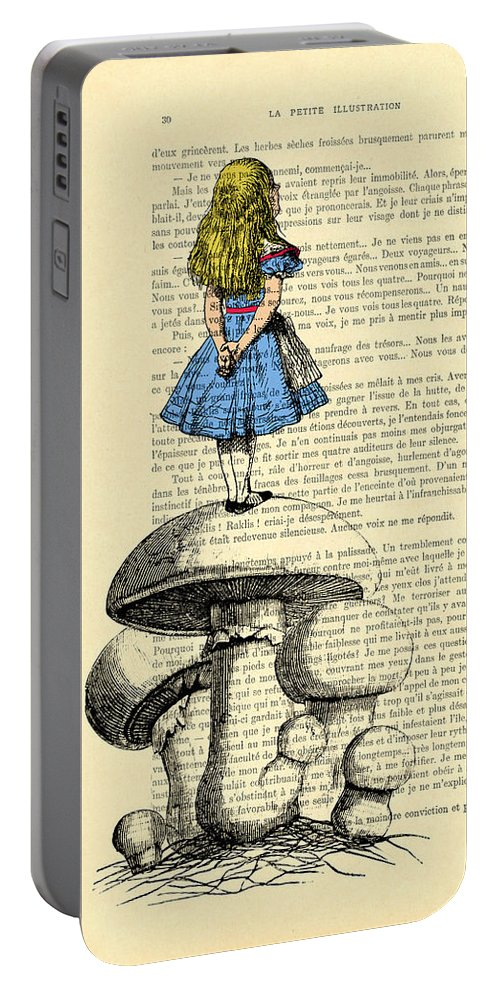 Alice Portable Battery Charger featuring the digital art Alice In Wonderland Standing On Giant Mushroom by Madame Memento
