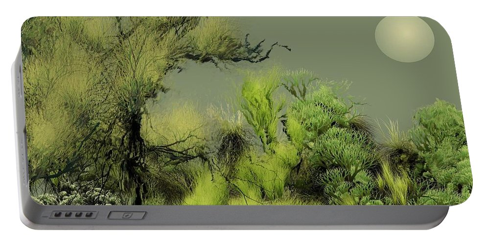 Digital Fantasy Painting Portable Battery Charger featuring the digital art Alien Garden 2 by David Lane