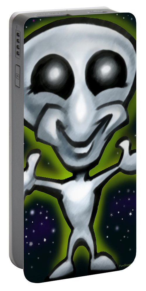 Alien Portable Battery Charger featuring the digital art Alien by Kevin Middleton