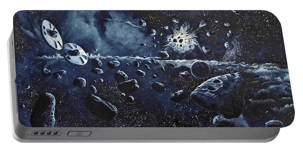 Space Portable Battery Charger featuring the painting Alien Saucers Playing Dodge Rock by Murphy Elliott
