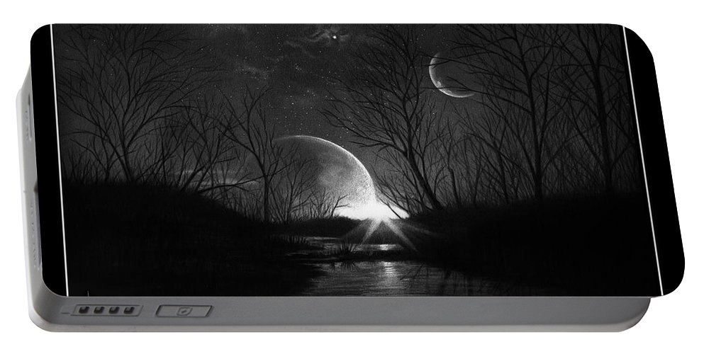 Pencil Portable Battery Charger featuring the drawing Alien Skies by Murphy Elliott