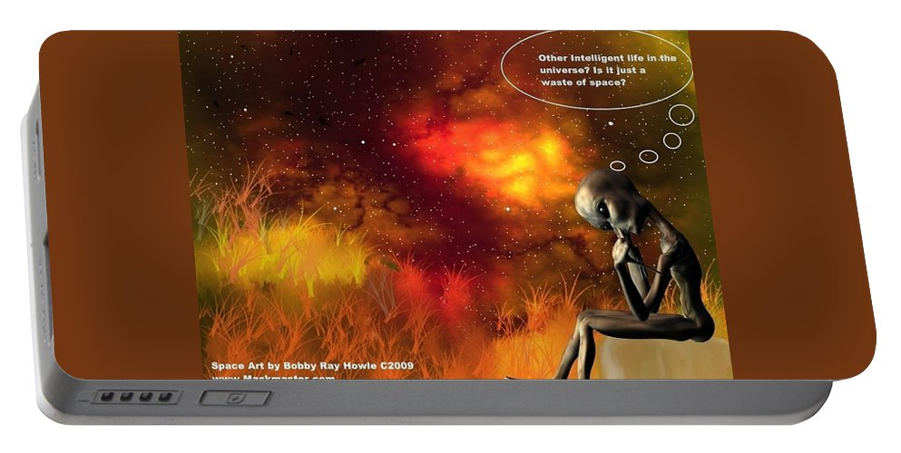 Comic Space Art Cartoon Artrage Artrageus Portable Battery Charger featuring the digital art Alien Thinker by Robert aka Bobby Ray Howle
