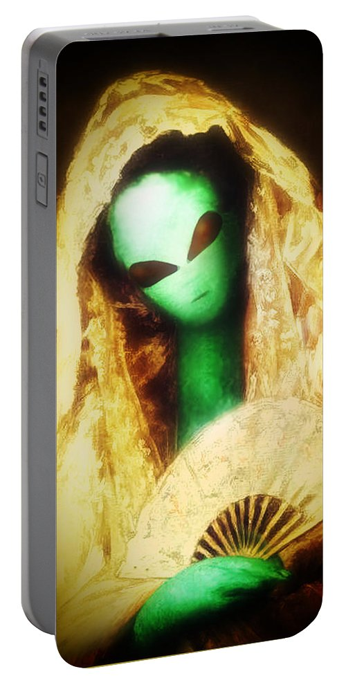 Cassatt Portable Battery Charger featuring the painting Alien Wearing Lace Mantilla by Gravityx9 Designs