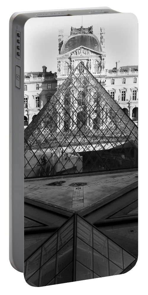 Pyramids Portable Battery Charger featuring the photograph Aligned Pyramids At The Louvre by Donna Corless