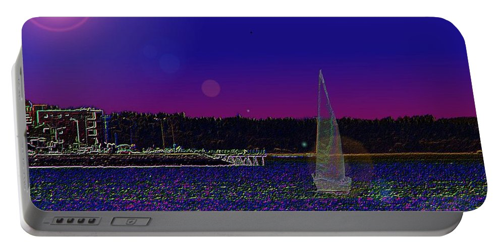 Seattle Portable Battery Charger featuring the digital art Alki Ghost Sail by Tim Allen
