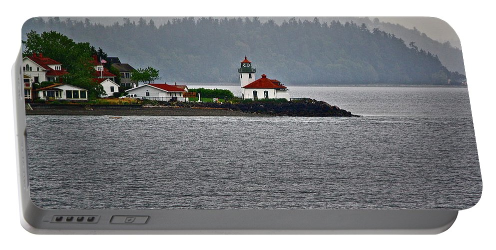 Lighthouse Portable Battery Charger featuring the photograph Alki Point by Diana Hatcher
