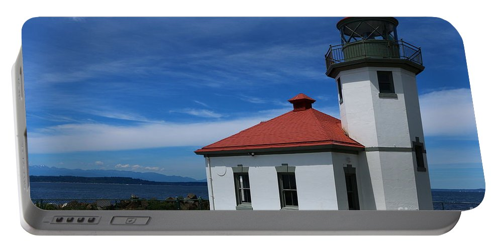Alki Portable Battery Charger featuring the photograph Alki Point Light by Christiane Schulze Art And Photography