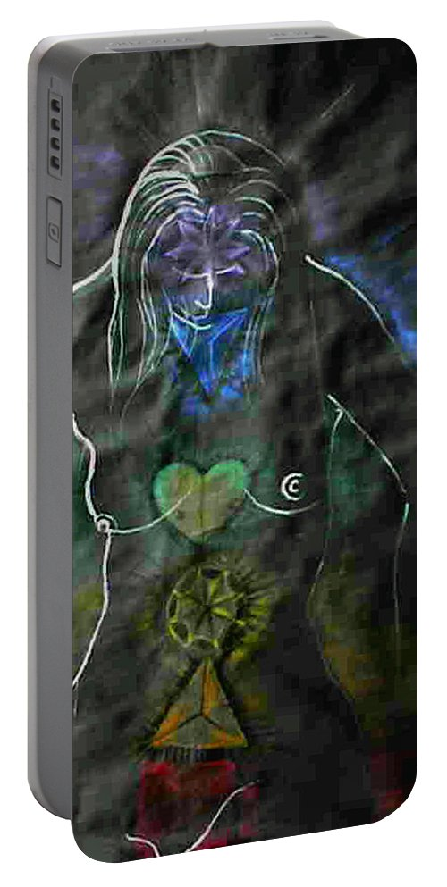 Drawing Portable Battery Charger featuring the drawing All 7 Shakras by Gideon Cohn