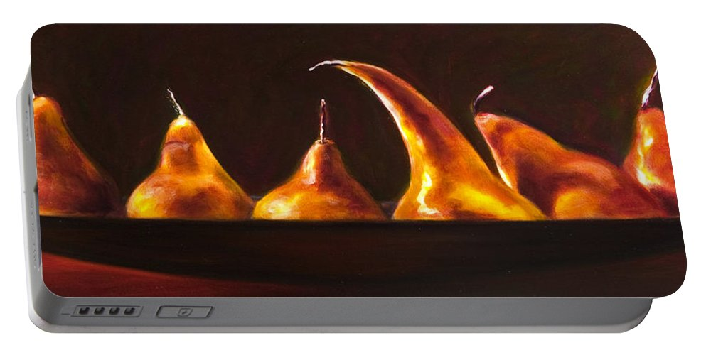 Pears Portable Battery Charger featuring the painting All Aboard by Shannon Grissom