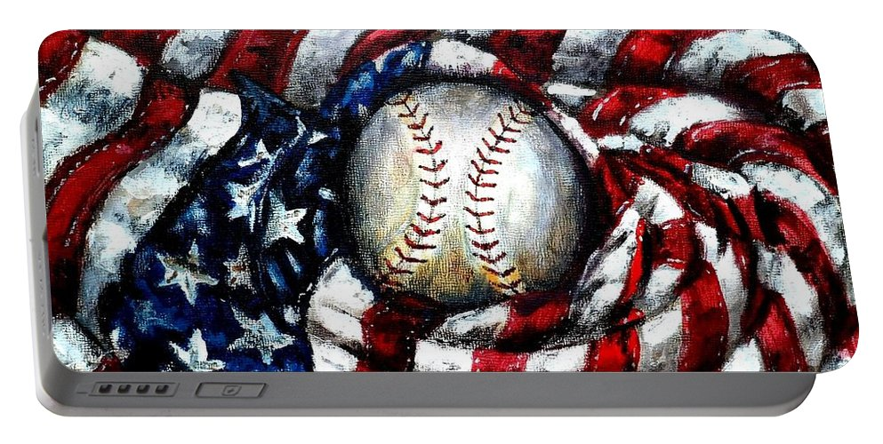 America Portable Battery Charger featuring the painting All American by Shana Rowe Jackson