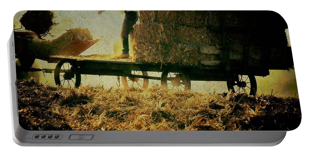 Amish Portable Battery Charger featuring the photograph All In A Day's Work by Trish Tritz