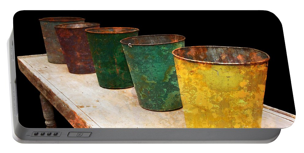 Bucket Portable Battery Charger featuring the photograph All In A Row by Lois Bryan