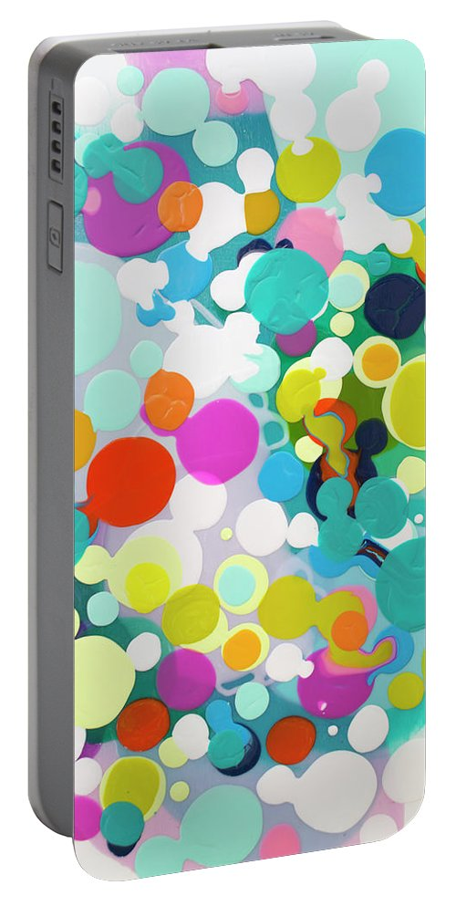 Abstract Portable Battery Charger featuring the painting All in the Timing by Claire Desjardins