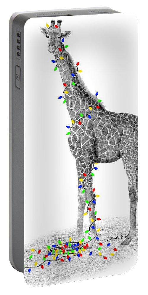 Giraffe Portable Battery Charger featuring the drawing All Lit Up by Selinda Van Horn