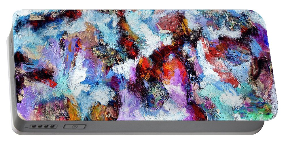 Abstract Portable Battery Charger featuring the painting All She Wrote by Dominic Piperata