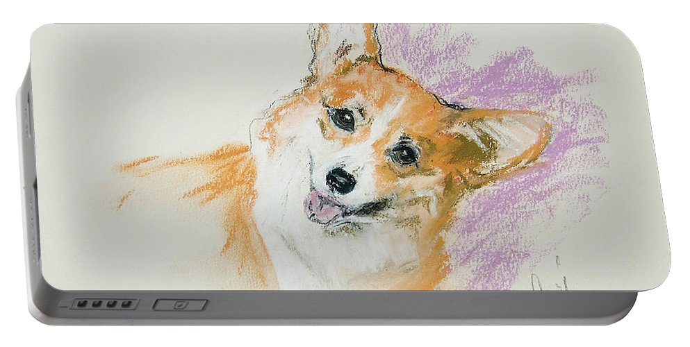 Corgi Portable Battery Charger featuring the drawing All Smiles by Cori Solomon