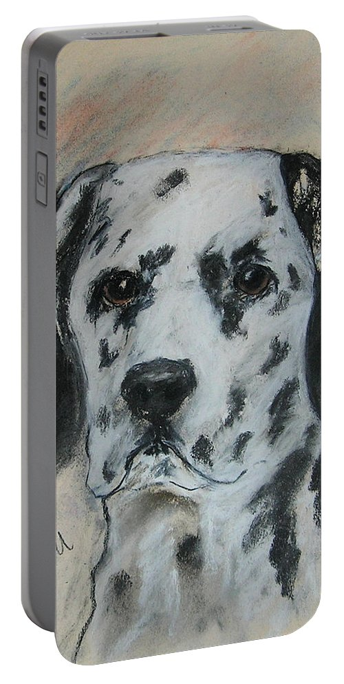 Dalmatian Portable Battery Charger featuring the drawing All Spots by Cori Solomon