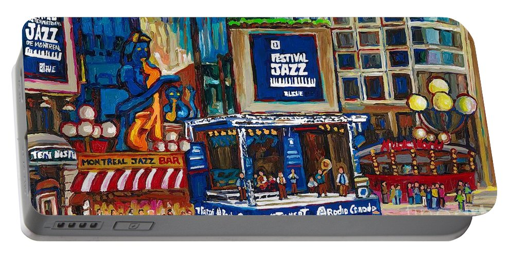 Montreal Portable Battery Charger featuring the painting All That Jazz by Carole Spandau