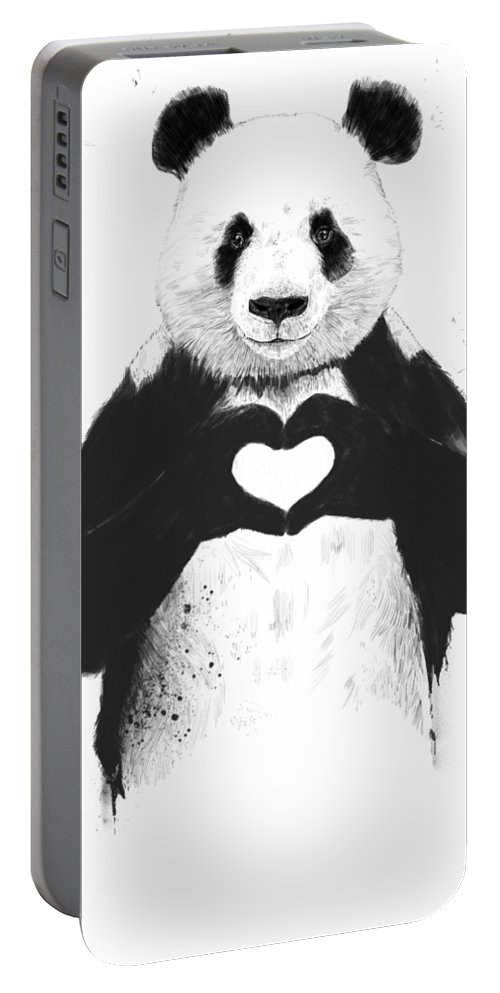 Panda Portable Battery Charger featuring the mixed media All you need is love by Balazs Solti