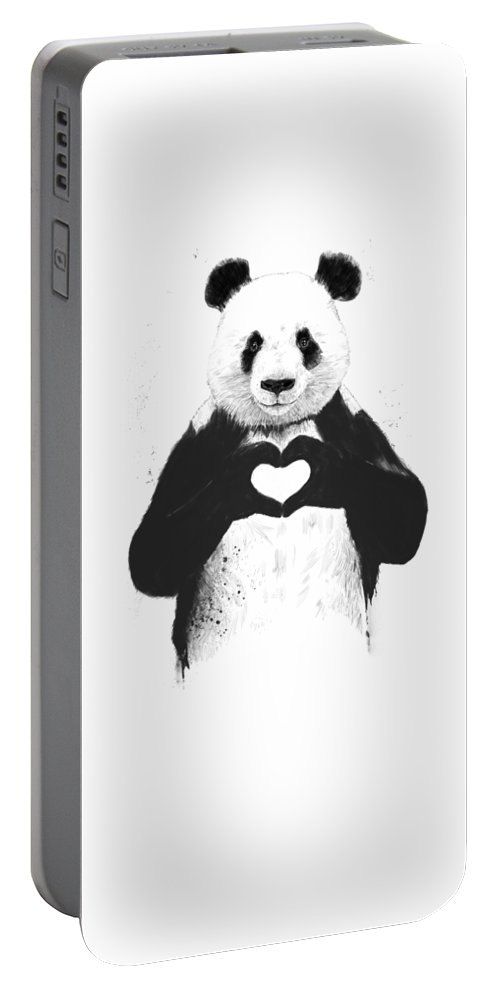 Panda Portable Battery Charger featuring the painting All you need is love by Balazs Solti