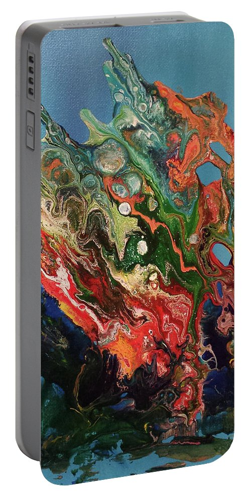 Abstract Paint Pour Portable Battery Charger featuring the painting Allegorical Aftermath by Beth Waltz